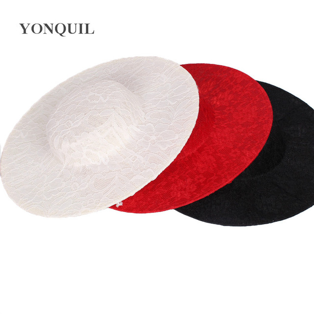 3dda12bdf80b6 NEW ARRIVAL 30CM ivory big size millinery imitation SINAMAY fascinators  base with lace cocktail party hat DIY hair accessories