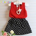 2016 Fashion Baby Girls Outfits Children Clothing Set Dot Chiffon Top+Skirt 2pcs suit Kids Summer Clothes Toddler Costume BC1260