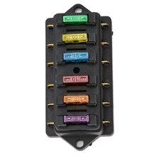 1 шт. 6,3 мм 6-полосная цепь Стандартный лопастной держатель предохранителя DC12V/24 В с 6 предохранителями для авто аксессуары