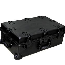 Gran tamaño, 741x461x269mm, impermeable con ruedas, caja de envío de plástico con espuma de pico