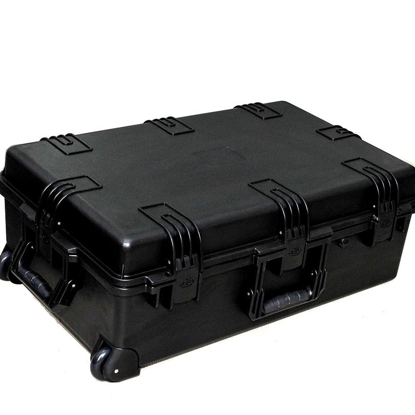groot formaat 741 * 461 * 269mm waterdichte plastic transportkoffer op wielen met plukschuim