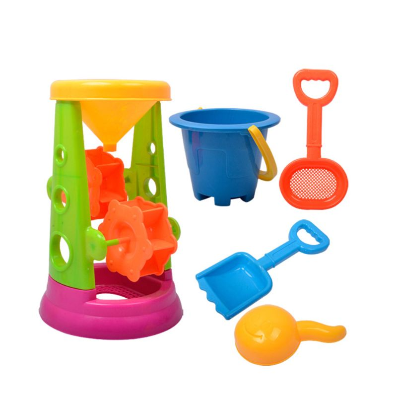 5PCS/SET Plastic Colorful Beach Hourglass Toys Summer Beach Play Sand Tools For Kids Children Intelligent Games Early Education