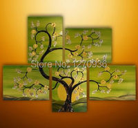 Plum Flower in the Day of the Life in the Yellow Green Sky 100% Handmade Oil Painting On Canvas Paintings Landscape Wall Picture
