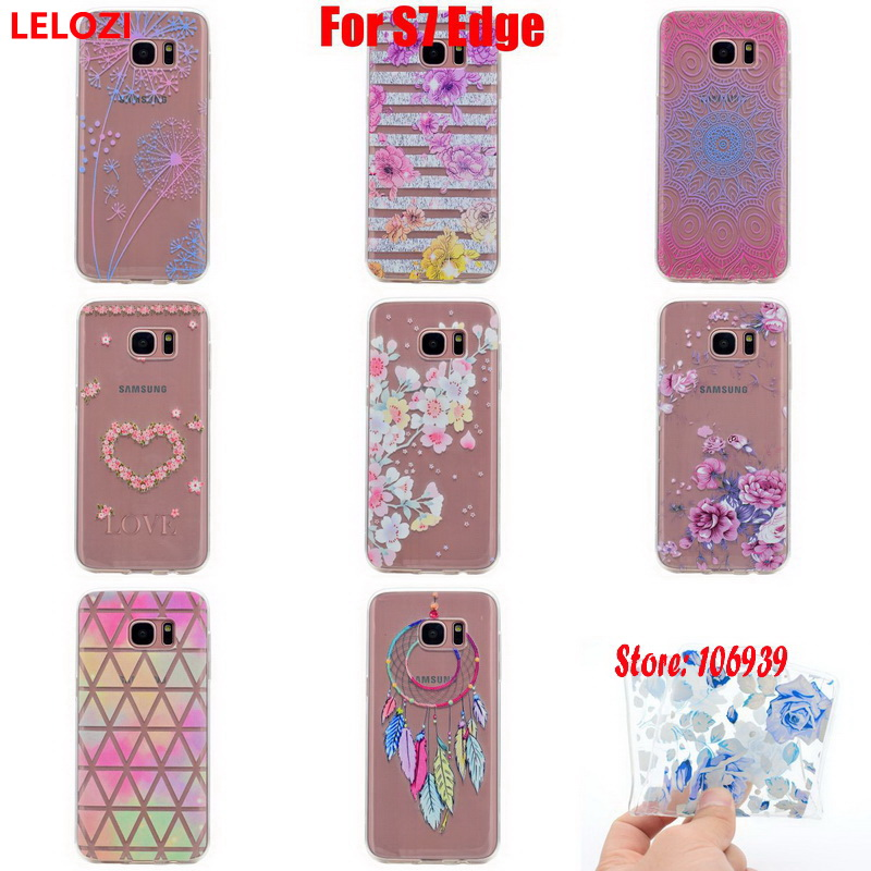 LELOZI Soft Transparent TPU Clear Silicone Gel Fundas Coque Case Cover Capa For Samsung Galaxy S7 Edge Blue Dream Luxury Cute
