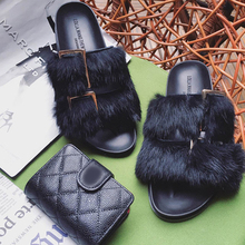 2016 Women Real Fur Slides Genuine Leather Furry Slippers Handmade Flat Heel Slipony Flip Flops Home & Outside Sandals Shoes