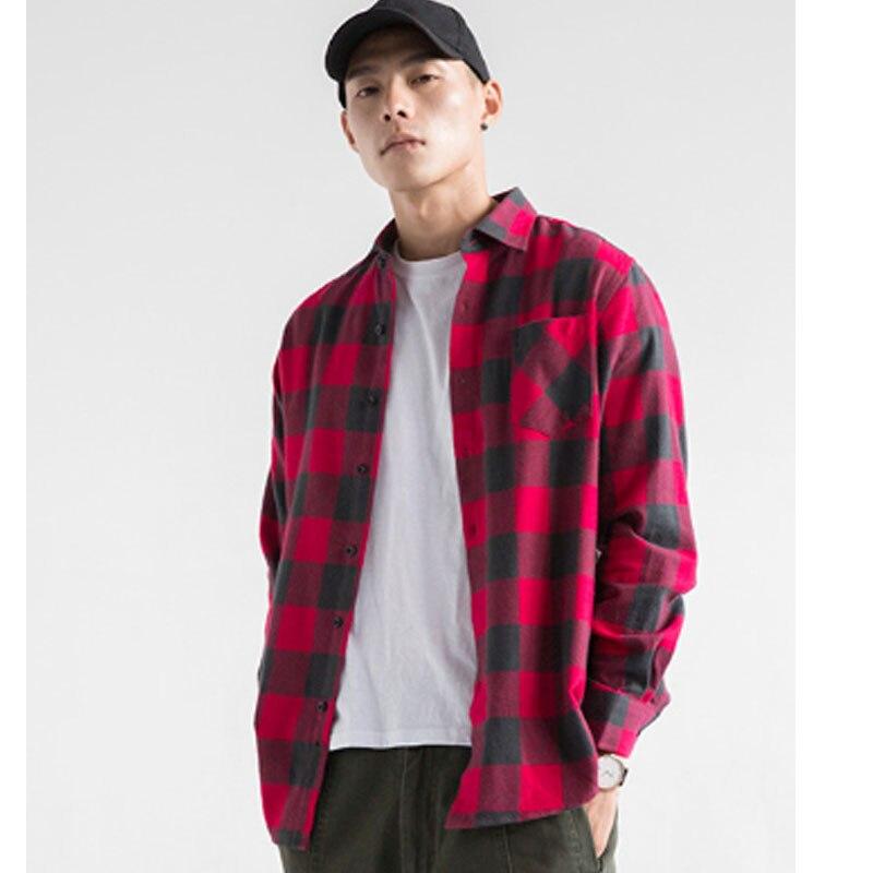 6df8550bd8 Camisas de franela para hombre primavera otoño Camisa de cuadros rojos  hombres de manga larga Slim Fit Casual a cuadros Camisa de moda de marca