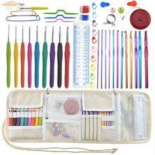 KOKONI Crochet Hooks Set 9pcs Ergonomic Handles 2.0-6.0mm Knitting Needles Scissors Sewing Accessory With Case
