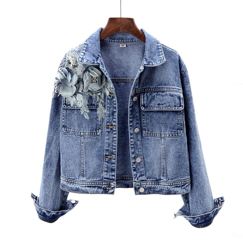 2019 Women Jacket Coat Flower Beading Long Sleeve Fashion Women Cropped Top Denim Jacket Top Quality