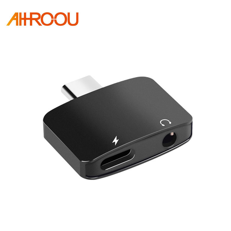 AHHROOU Type-C Audio Cable Adapter USB Type C to 3.5mm Headphone Jack 2 in 1 Charger Adapter For Xiaomi Mi6 Note3 Mix 2 Huawei