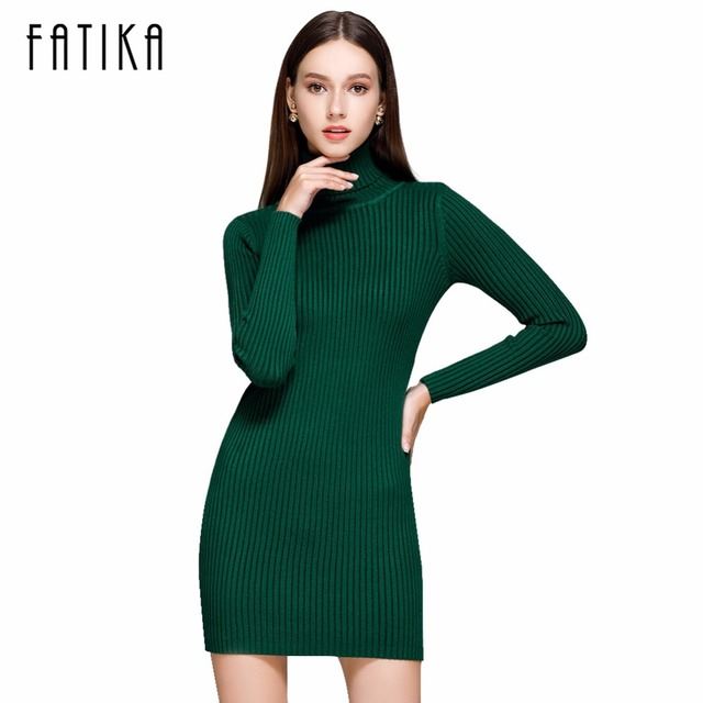 FATIKA Fashion 2017 Women Autumn Winter Sweater Dresses Slim Turtleneck Sexy Bodycon Solid Color Robe Knitted Dress