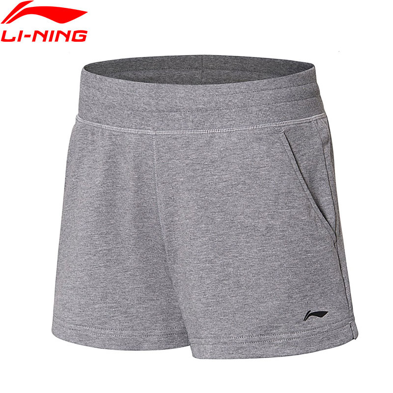 (Clearance)Li-Ning Women Training Sweat Shorts Regular Fit 100%Cotton Breathable LiNing Sport Fitness Shorts AKSN018 WKD579(China)