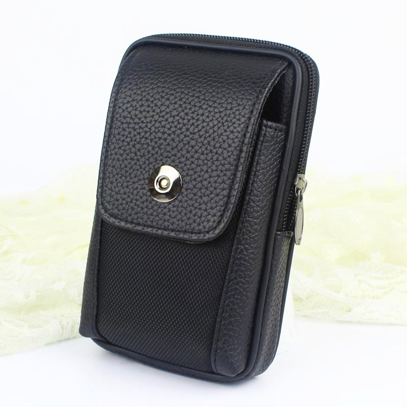 Men Fashion Fanny Pack For Mobile Phone Male Black PU Leather Zipper Coin Purse Burse Bags Casual Waist Pack Man Bag Purses