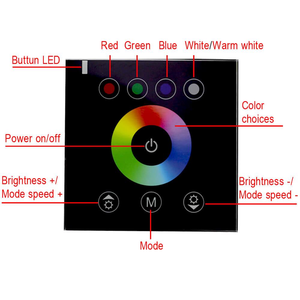 պատի տեղադրման անջատիչ RGBW - Լուսավորության պարագաներ - Լուսանկար 5