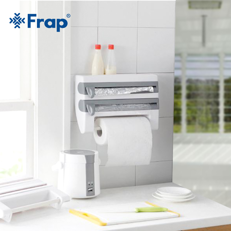 FRAP Wall Mounted Kitchen Racks Sauce Bottle Storage Rack Tin Foil Paper Towel Holder Kitchen Shelf Plastic Wrap Cutting