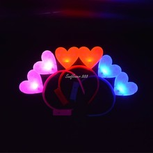 2017 Mujeres Niñas Ilumina Intermitente Doble INTERMITENTE Banda para La Cabeza Diadema Corazón Fiesta de Cumpleaños de la Boda de Halloween