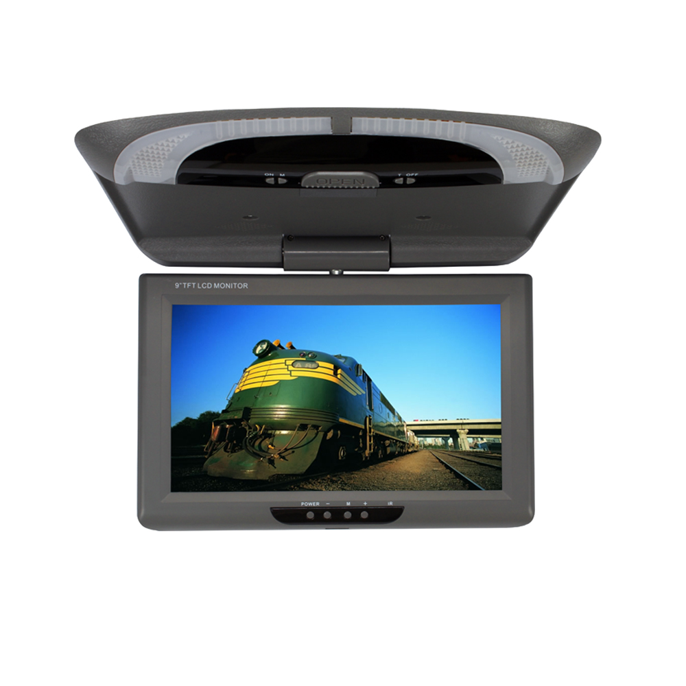 9 Inch TFT LED Screen Monitor Car Roof Mounted Monitor Flip Down Monitor with 2 Video Input