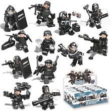 Новые 12 шт. строительные блоки солдат куклы C0500 C0501 командная маска совместимые с Legoings Armed SWAT строительные блоки игрушки