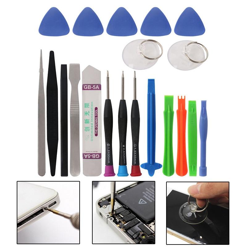 20Pcs Mobile Phone Repair Opening Tools Kit Scraper + Tweezers + Spudger For IPhone Samsung Cell Phone Tool