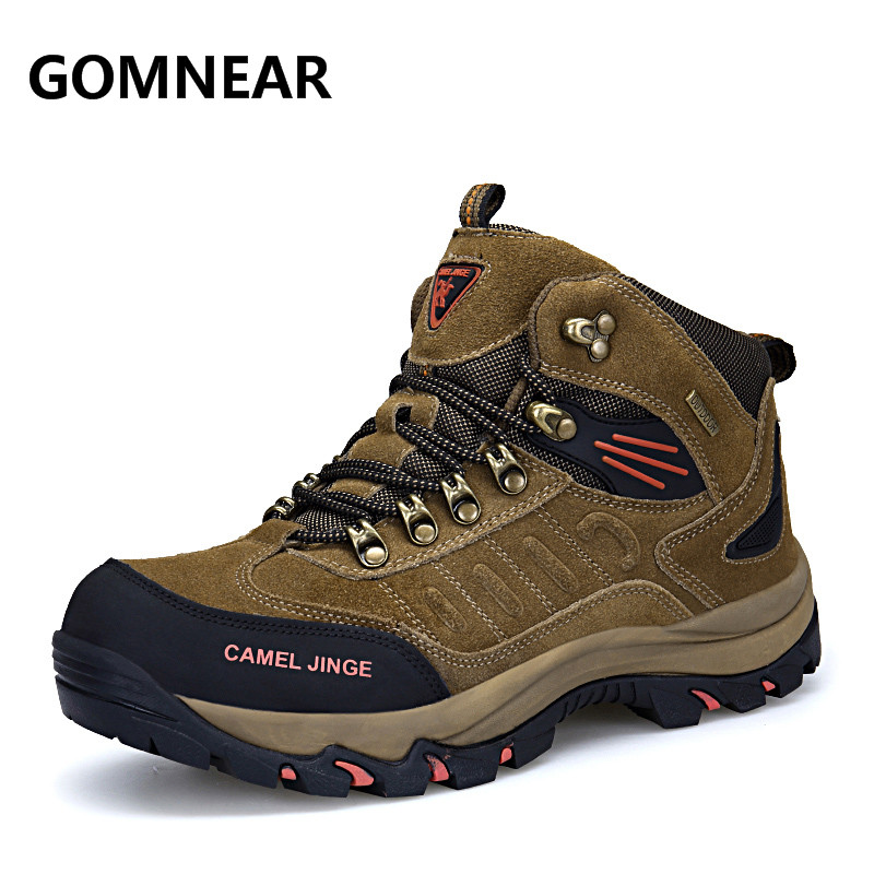 2017 New Authentic Camel Men's Big Size Hiking Shoes Plus Fur Mountain Outdoor Shoes High-top genuine leather Hiking Sneakers humtto new hiking shoes men outdoor mountain climbing trekking shoes fur strong grip rubber sole male sneakers plus size