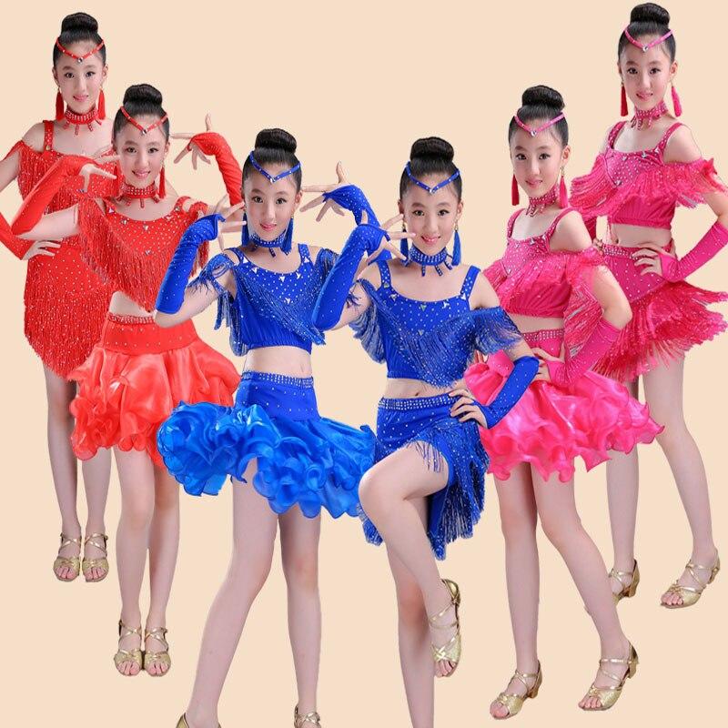 Songyuexia New Children Latin Dance Dress Salsa Tango Ballroom Costumes Sequined Tassels Dancwear Girl Latin 3 Colors 110-160cm