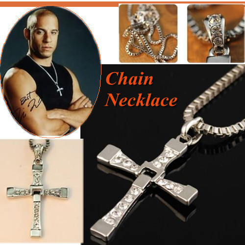 """Free Shipping  The Fast and the Furious Dominic Toretto's CROSS PENDANT 26"""" Chain Necklace"""
