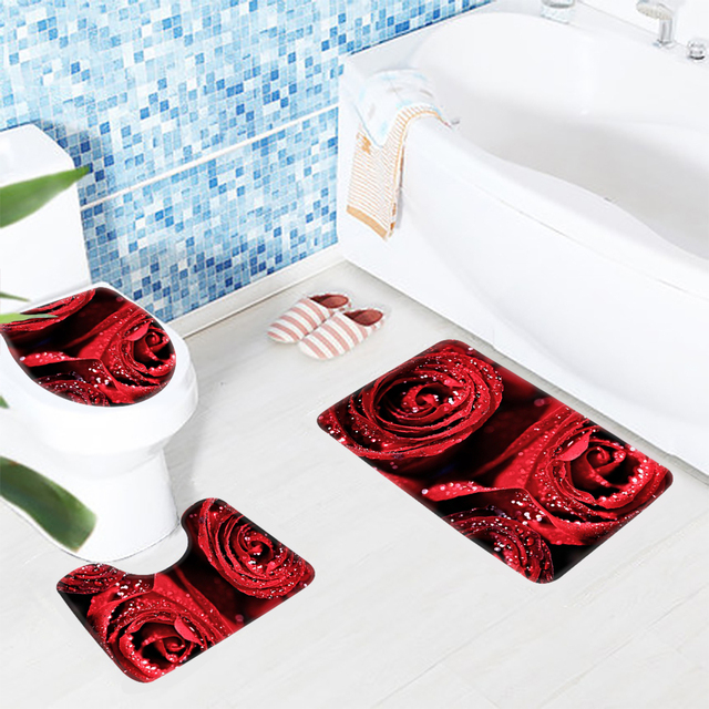 3pcs Toilet Mat Set Red Roses Flowers Drops Pattern Bathroom Rug Non ...