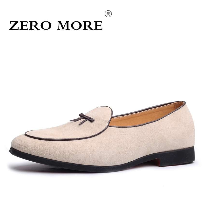 ZERO MORE Slip On Men Shoes Black Genuine Pig   Leather   2019   Suede   Moccasins Tie Mens Shoes Casual Loafers Fashion Tassel Design