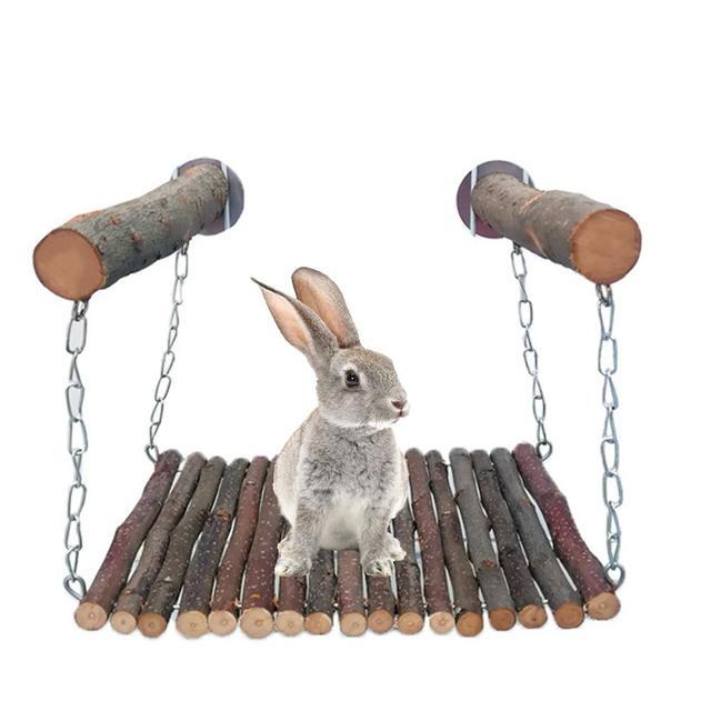 Rabbit Hamster Hammock Wooden Branch Hamster Rabbit Bed Chinchilla Swing Squirrel Guinea Pig Pedal Small Pet Toy Molar Supplies