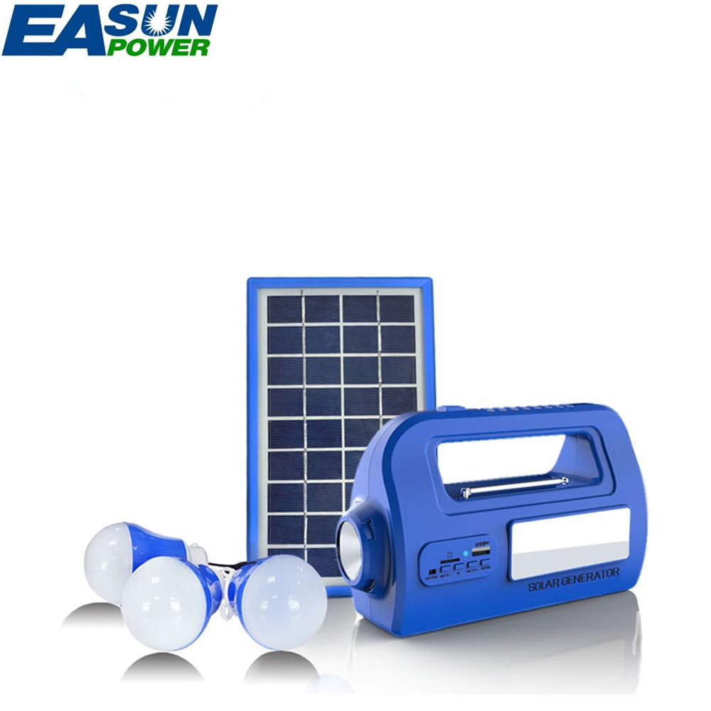 EASUNPOWER Portable Solar Generator Outdoor Power Mini DC 3W Solar Panel 6V-4.5Ah Lead-acid Battery Charging LED Lighting System