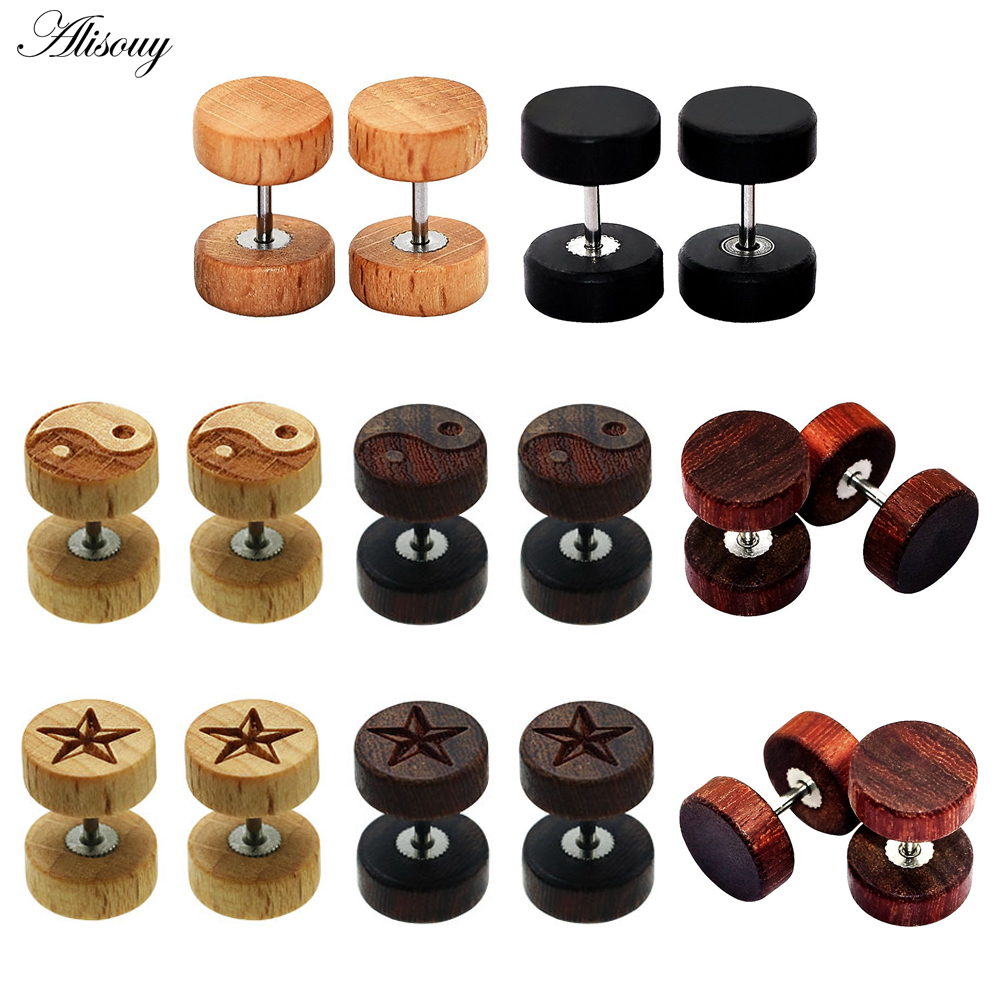 Alisouy 2PC Fashion Wooden Ear Studs Earrings Natural Brown Black 8 10 12mm Punk Barbell Fake - Earrings For Men