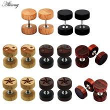 Alisouy 2pc moda brincos de orelha de madeira natural marrom preto 8 10 12mm punk barbell falso plugues de ouvido brincos para mulheres masculinas