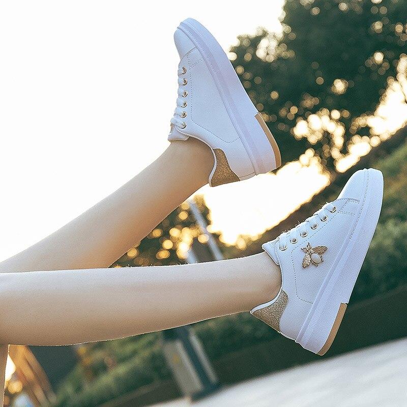 Женские кроссовки на платформе, белые кроссовки со стразами, ST351