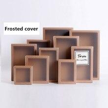 20 adet buzlu PVC kapak Kraft kağıt çekmece kutuları DIY el yapımı sabun el sanatları mücevher kutusu için düğün parti hediye paketleme