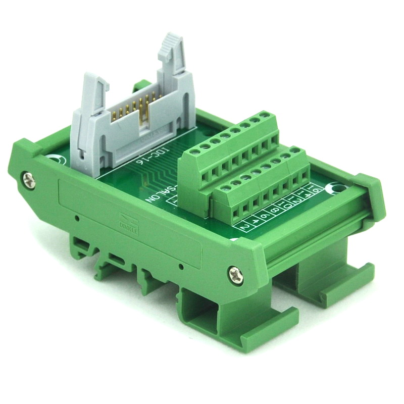 IDC-16 DIN Rail Mounted Interface Module, Breakout Board, Terminal Block. idc 50 din rail mounted interface module