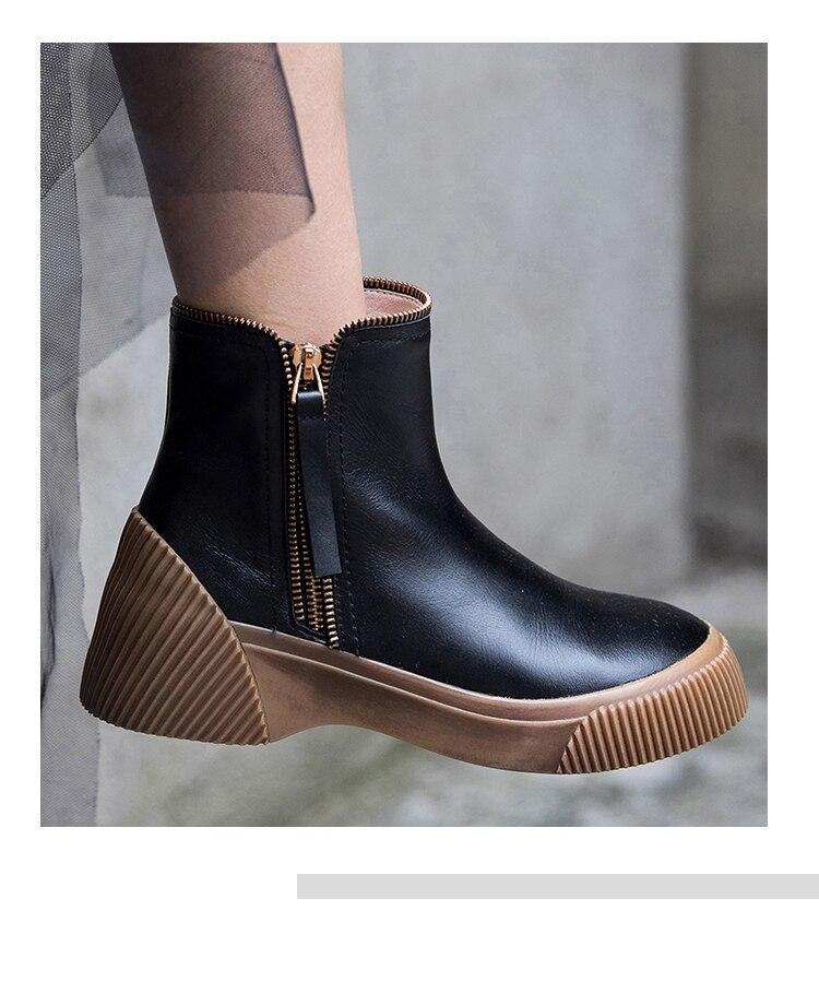 Plana Del Albaricoque Zapatos Dedo Cuero Botas Genuino Tobillo Moda G102 Redonda Negro Cremallera Mujer Pie Punta Casual De pqYxfzZHnw