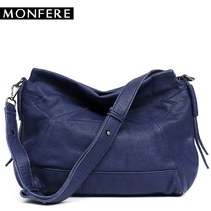 986af7c168 MONFERE Real Genuine Leather Woman s Shoulder Bag Patchwork Lady Pillow  Crossbody Messenger Bags Female Strap Cowhide Handbags