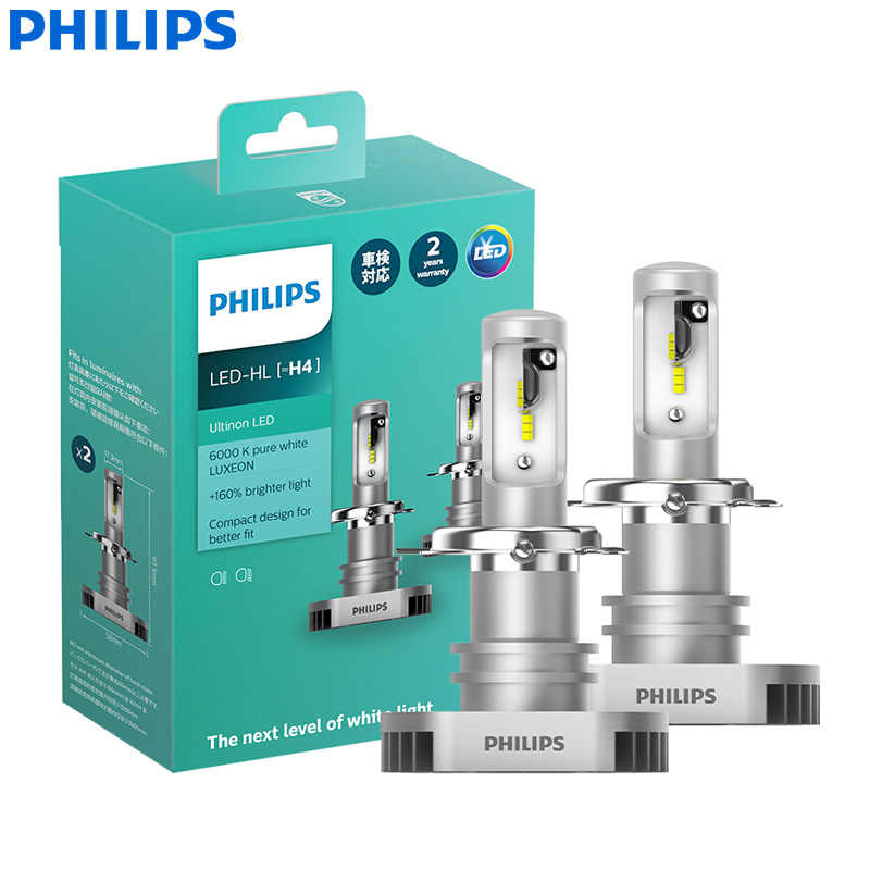 Philips Ultinon LED H4 9003 HB2 12V 11342ULX2 6000K Bright Car LED Headlight Auto HL Beam +160% More Bright (Twin Pack)