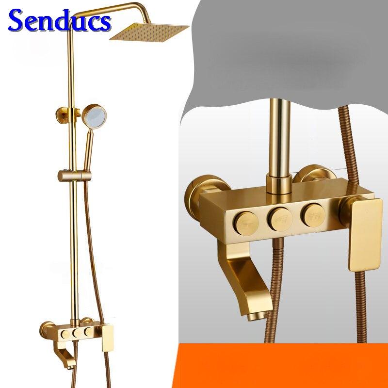 Senducs Space Aluminum Shower Set for Fashion Golden Shower System Rain Top Shower Faucet Quality Aluminum Gold Shower Set