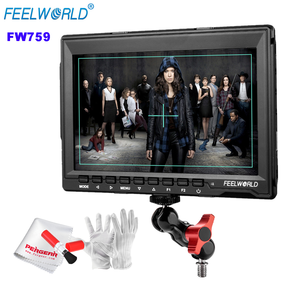 Feelworld FW759 7 1280x800 HD IPS Panel LCD DSLR Field Monitor HDMI Input for BMPCC with Articulating Magic Arm Mount Adapter