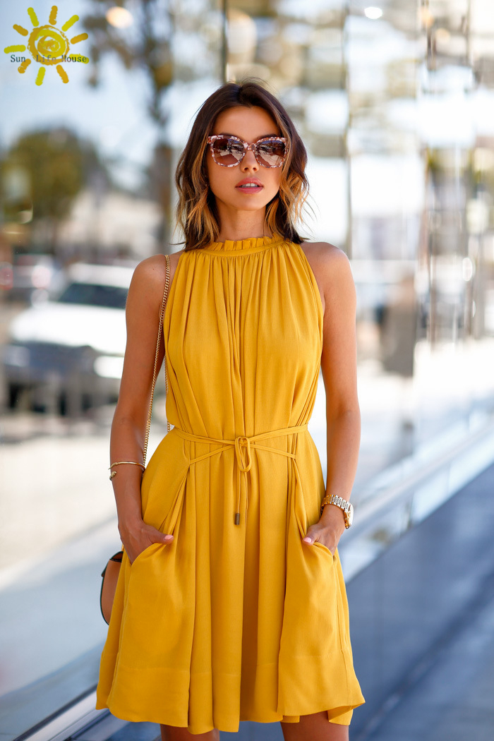 197b3fcd3fc womens summer dresses 2015 summer yellow dress women new fashion style  mustard yellow pile collar loose dress + gift !-in Dresses from Women s  Clothing on ...