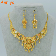 Anniyo Arab Jewelry sets Dubai Necklace Earrings Mix Gold Color Middle East Wedding Egypt/Turkey/Iraq/Africa #007912