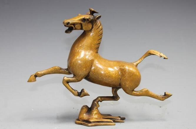 Chinois Fengshui Pur Bronze Cuivre Cheval équitation Chebi Hirondelle de Bon Augure Statue