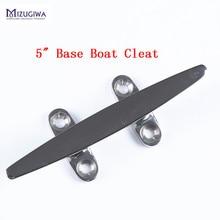1PC Mizugiwa 5 inch Open Base Flat Top Boat Cleats Heavy Duty SS Rope Low Silhouette Boat Cleat Base Dock Deck Bollard Yacht