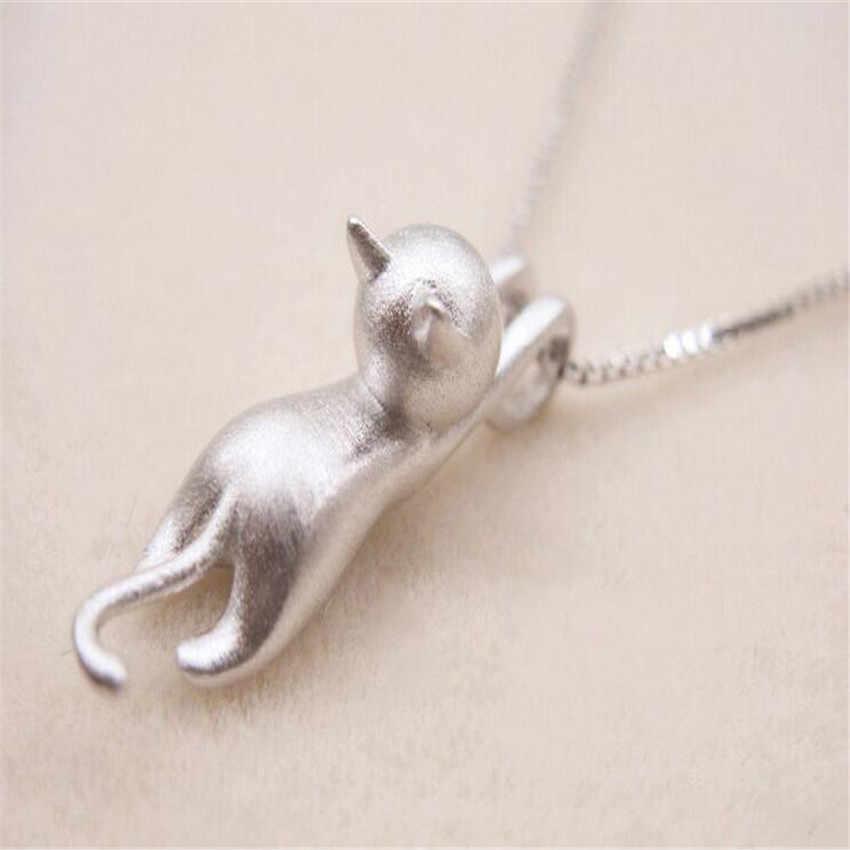 Treo Mèo Vòng Cổ cho Phụ Nữ Nhỏ Gọn Động Vật Kitty Dây Chuyền Mặt Dây Chuyền Nhỏ Gọn dễ thương quyến rũ quà tặng Trang Sức vàng/bạc mạ