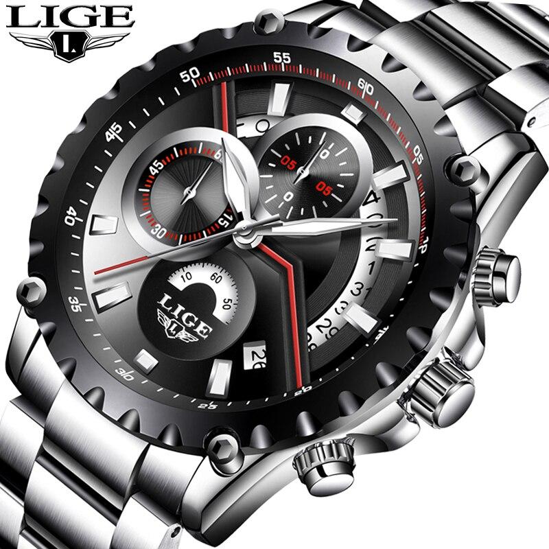 Relogio Masculino Men's watch LIGE Fashion Hollow Design Watch Men's Sport Waterproof Quartz Watch Men all Steel Military watch