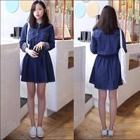 Hot Young Women Jean Dress Cute College Cotton Dark Blue Jean Dress Feminine Slim All Match