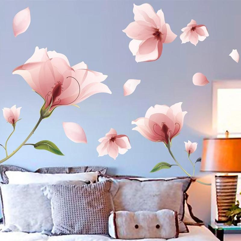 Buy pink flower wall stickers beautiful - Beautiful wall stickers for living room ...