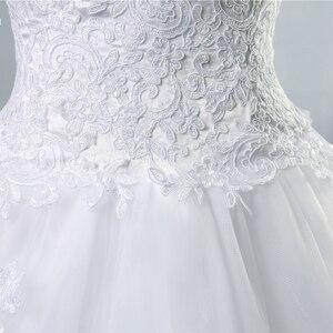 Image 5 - ZJ9059 2019 2020 Weiß Elfenbein Kleid Tüll Schatz Hochzeit Kleid Real Photo Gericht Zug für braut Kleider plus größe Hohe qualität