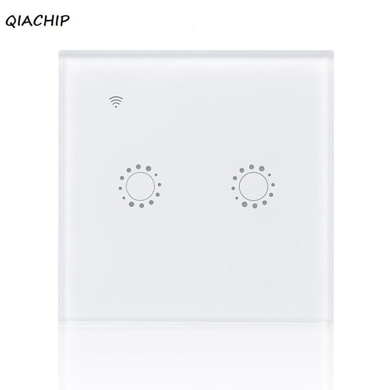 EU WiFi Smart 2 Gang Light Wall Switch White Crystal Tempered Glass Panel Touch Screen APP Control for Amazon Alexa Google Home sonoff t1 smart wifi rf app touch control wall light switch 1 2 3 gang 86 type uk panel wall touch light switch alexa nest