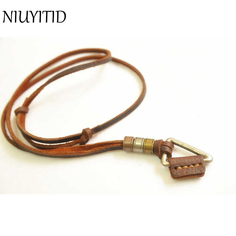 NIUYITID Men Necklace 100% Genuine Leather Necklaces Vintage Triangle Pendants Adjustable Brown Chain Women Collar Jewellery
